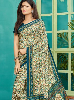 Designer Saree Printed Crepe Silk in Multi Colour