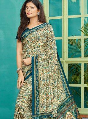 Designer Saree Printed Crepe Silk in Multi Colour