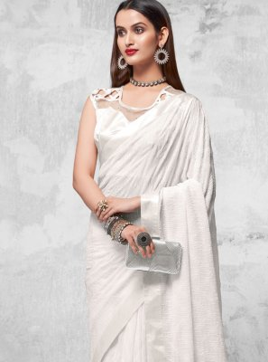Designer Saree Sequins Faux Georgette in Off White