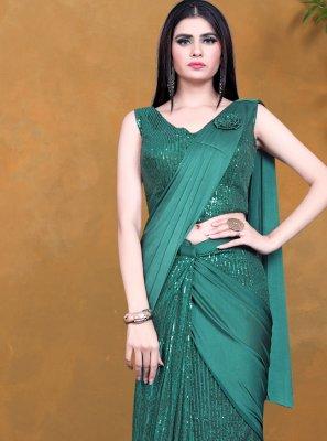 Designer Saree Sequins Lycra in Green