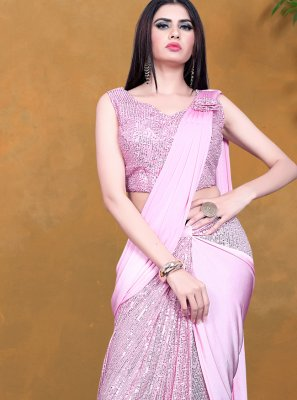 Designer Saree Sequins Lycra in Pink
