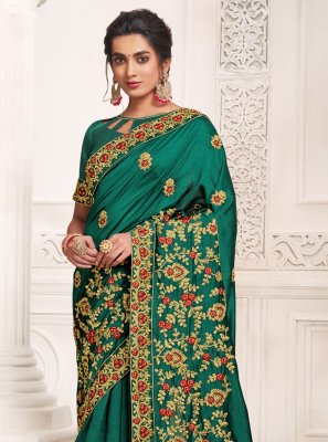 Designer Saree Weaving Silk in Rama