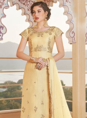 Designer Straight Suit Embroidered Chanderi in Yellow