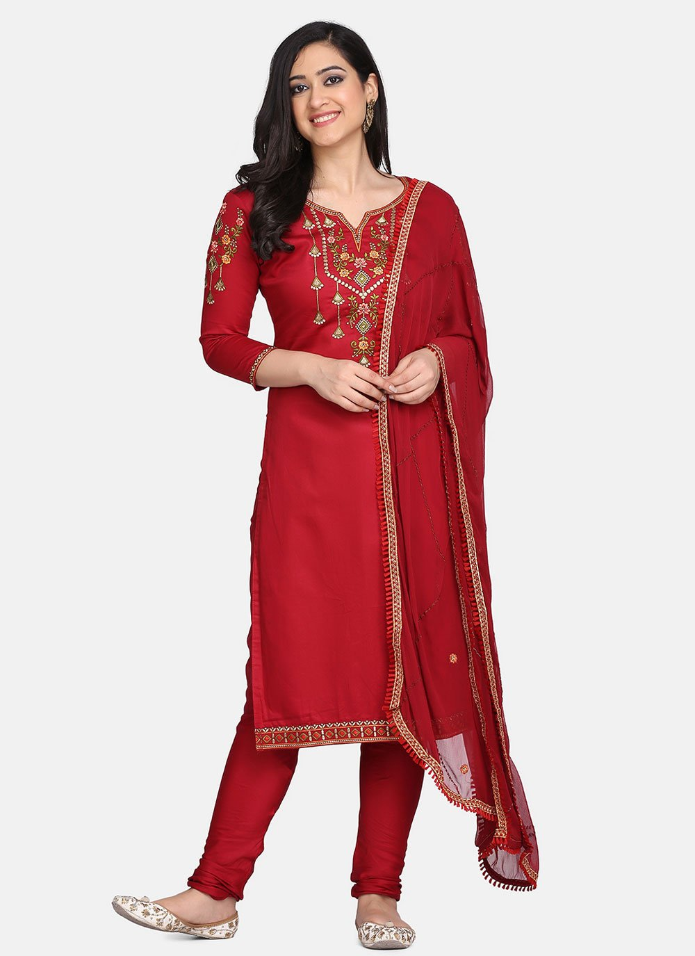 Designer Straight Suit Embroidered Cotton in Red