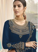 Designer Straight Suit Embroidered Faux Georgette in Blue