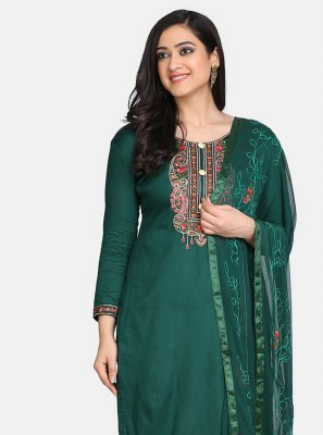 Designer Suit Embroidered Cotton in Green