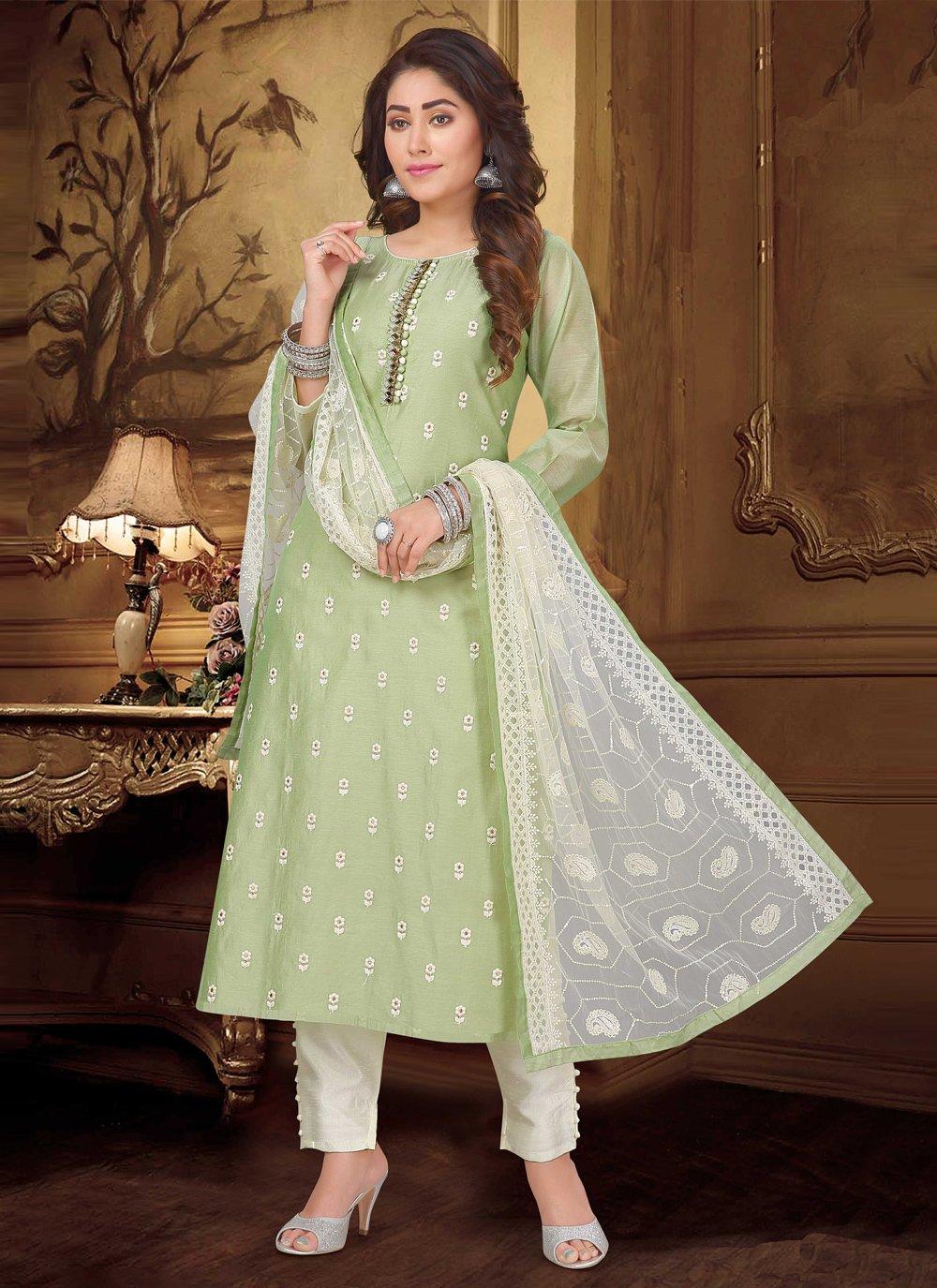 Designer Suit Fancy Chanderi in Green