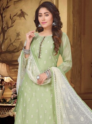 Designer Suit Fancy Chanderi in Green