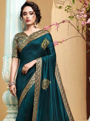 Designer Traditional Saree Embroidered Art Silk in Rama