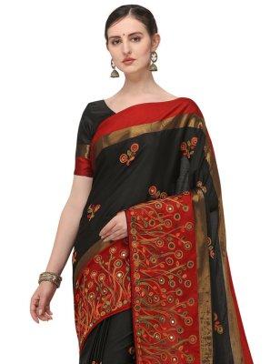 Designer Traditional Saree Embroidered Cotton Silk in Black