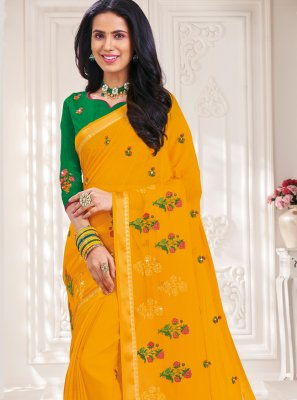 Designer Traditional Saree Embroidered Faux Chiffon in Mustard