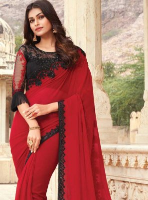 Designer Traditional Saree Embroidered Silk in Red