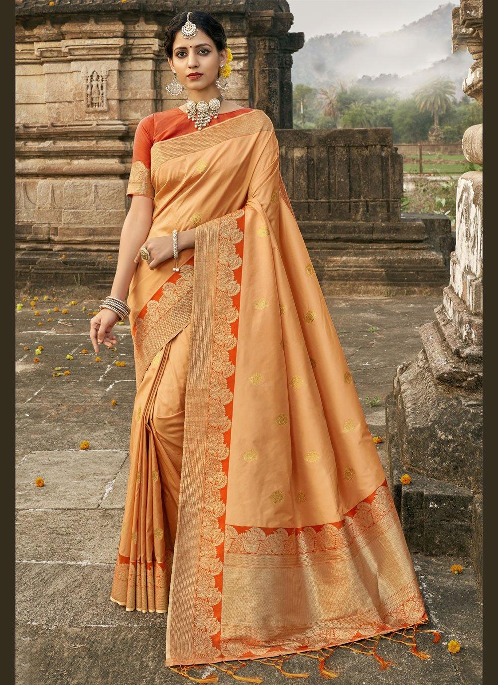 Designer Traditional Saree Fancy Banarasi Silk in Orange