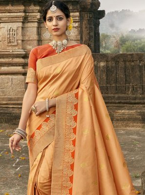 Designer Traditional Saree Fancy Banarasi Silk in Orange
