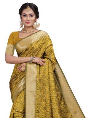 Designer Traditional Saree Fancy Silk in Gold