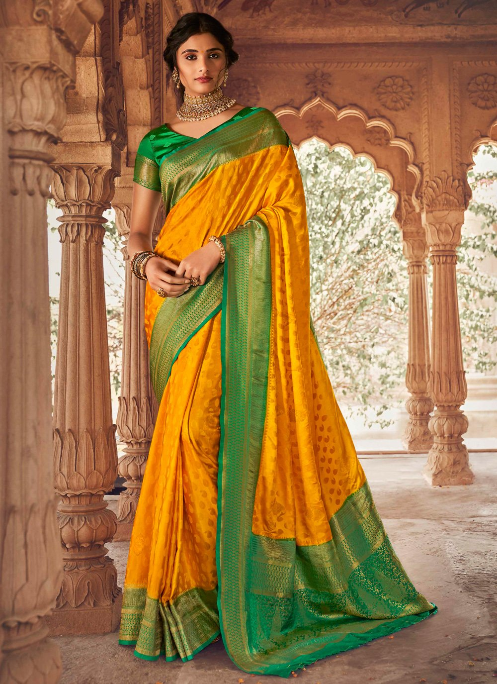 Designer Traditional Saree Fancy Silk in Green and Mustard