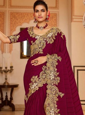 Designer Traditional Saree Patch Border Fancy Fabric in Wine