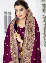 Designer Traditional Saree Patch Border Silk in Wine