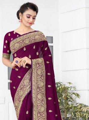 Designer Traditional Saree Patch Border Silk in Wine