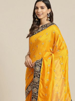 Designer Traditional Saree Patch Border Silk in Yellow