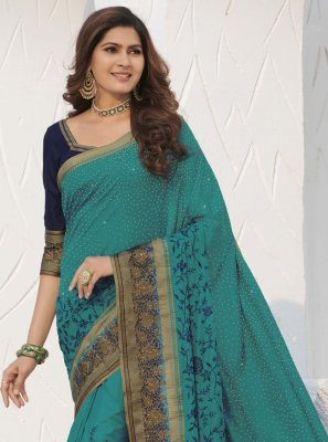 Designer Traditional Saree Swarovski Silk in Rama