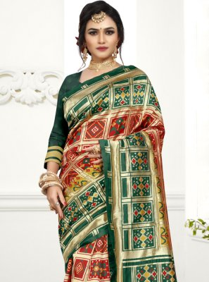 Designer Traditional Saree Weaving Art Silk in Green and Red