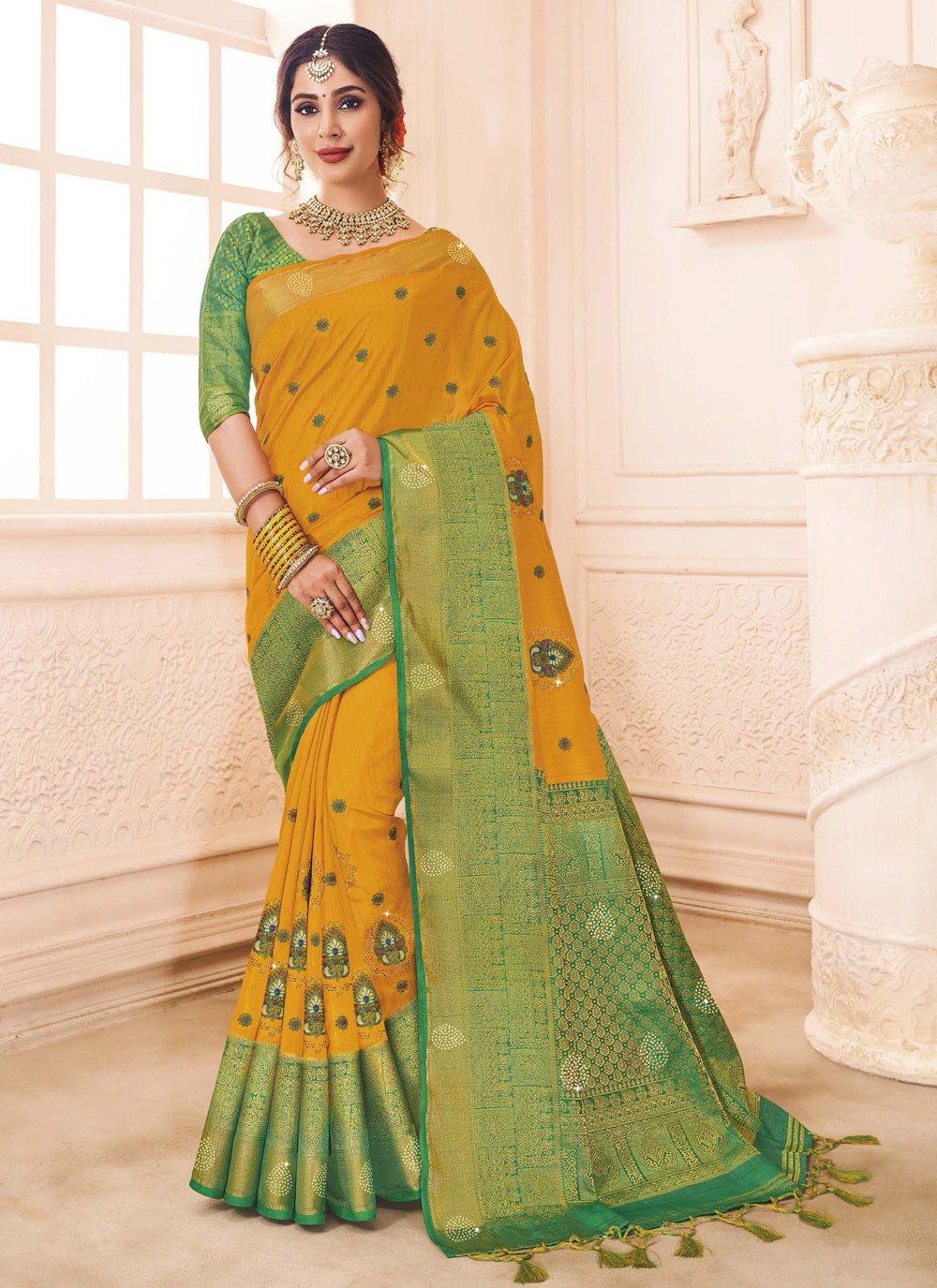 Designer Traditional Saree Weaving Art Silk in Mustard