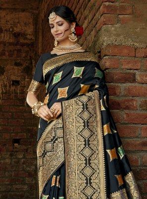 Designer Traditional Saree Weaving Banarasi Silk in Black