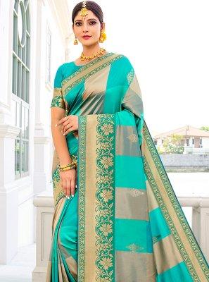 Designer Traditional Saree Weaving Banarasi Silk in Blue