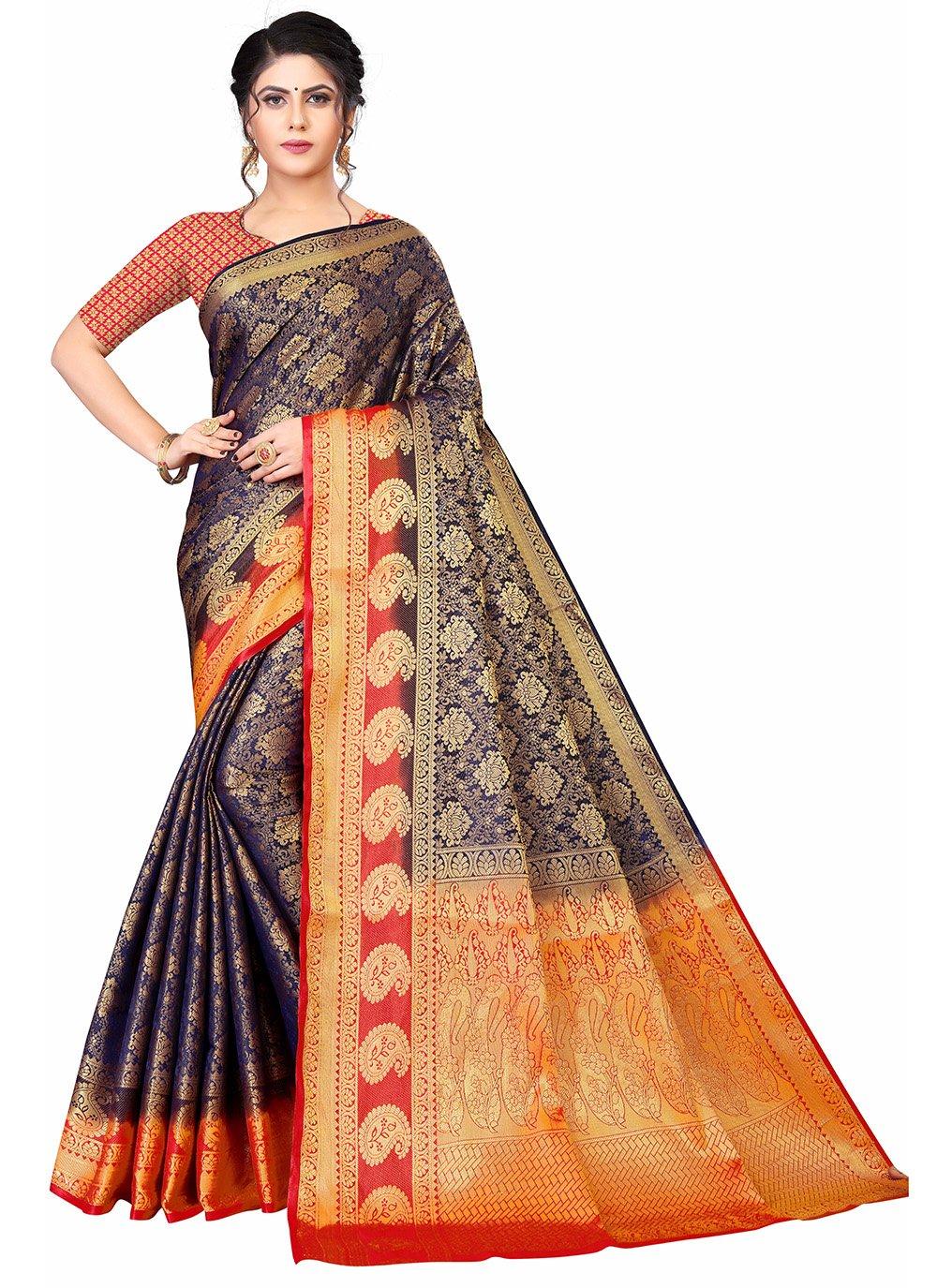 Designer Traditional Saree Weaving Banarasi Silk in Blue and Orange