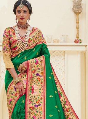 Designer Traditional Saree Weaving Banarasi Silk in Green
