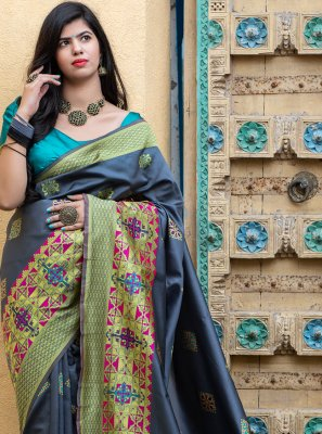 Designer Traditional Saree Weaving Banarasi Silk in Grey