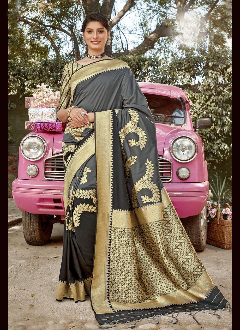 Designer Traditional Saree Weaving Banarasi Silk in Grey