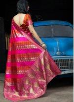 Designer Traditional Saree Weaving Banarasi Silk in Hot Pink
