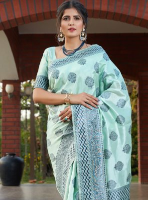 Designer Traditional Saree Weaving Banarasi Silk in Turquoise