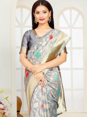 Designer Traditional Saree Weaving Poly Silk in Grey
