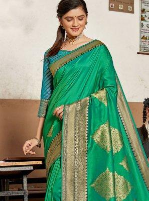 Designer Traditional Saree Weaving Silk in Green