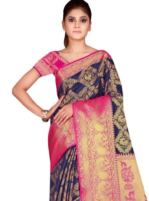 Designer Traditional Saree Weaving Silk in Navy Blue