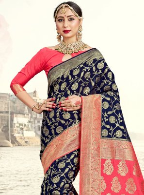Designer Traditional Saree Woven Art Banarasi Silk in Navy Blue