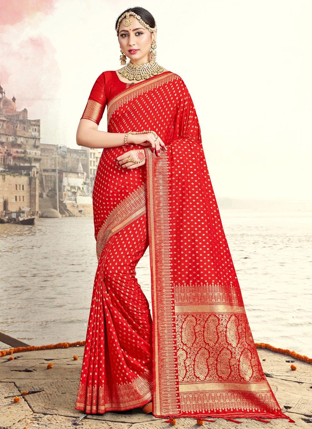 Designer Traditional Saree Woven Art Banarasi Silk in Red