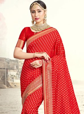 Designer Traditional Saree Woven Art Banarasi Silk in Red