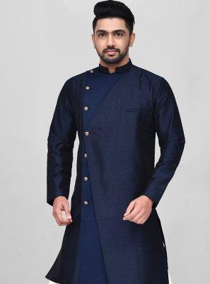 Dhoti Kurta Buttons Art Silk in Blue