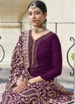 Diamond Faux Georgette Purple Designer Palazzo Suit