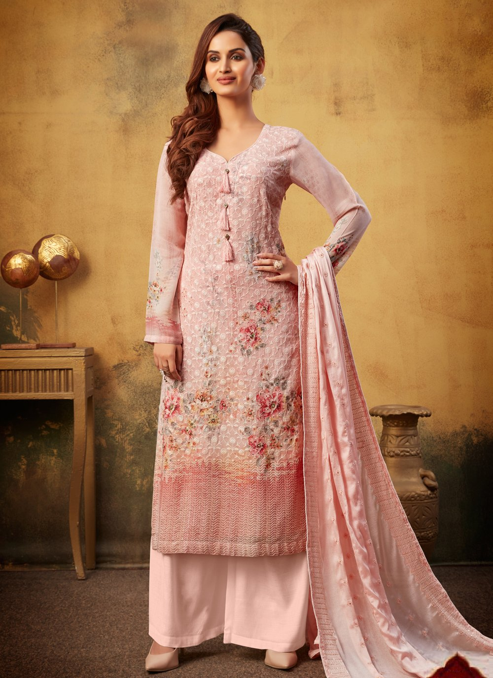 Digital Print Bamber Georgette  Pink Designer Palazzo Suit