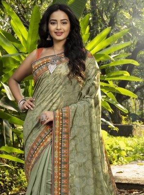 Digital Print Chanderi Classic Designer Saree