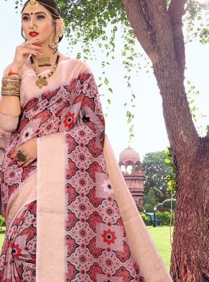 Digital Print Cotton Designer Saree