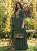 Digital Print Cotton Green Designer Palazzo Salwar Suit