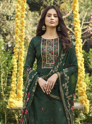 Digital Print Cotton Green Designer Palazzo Salwar Suit