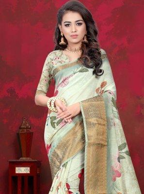 Digital Print Cotton Silk Multi Colour Designer Traditional Saree