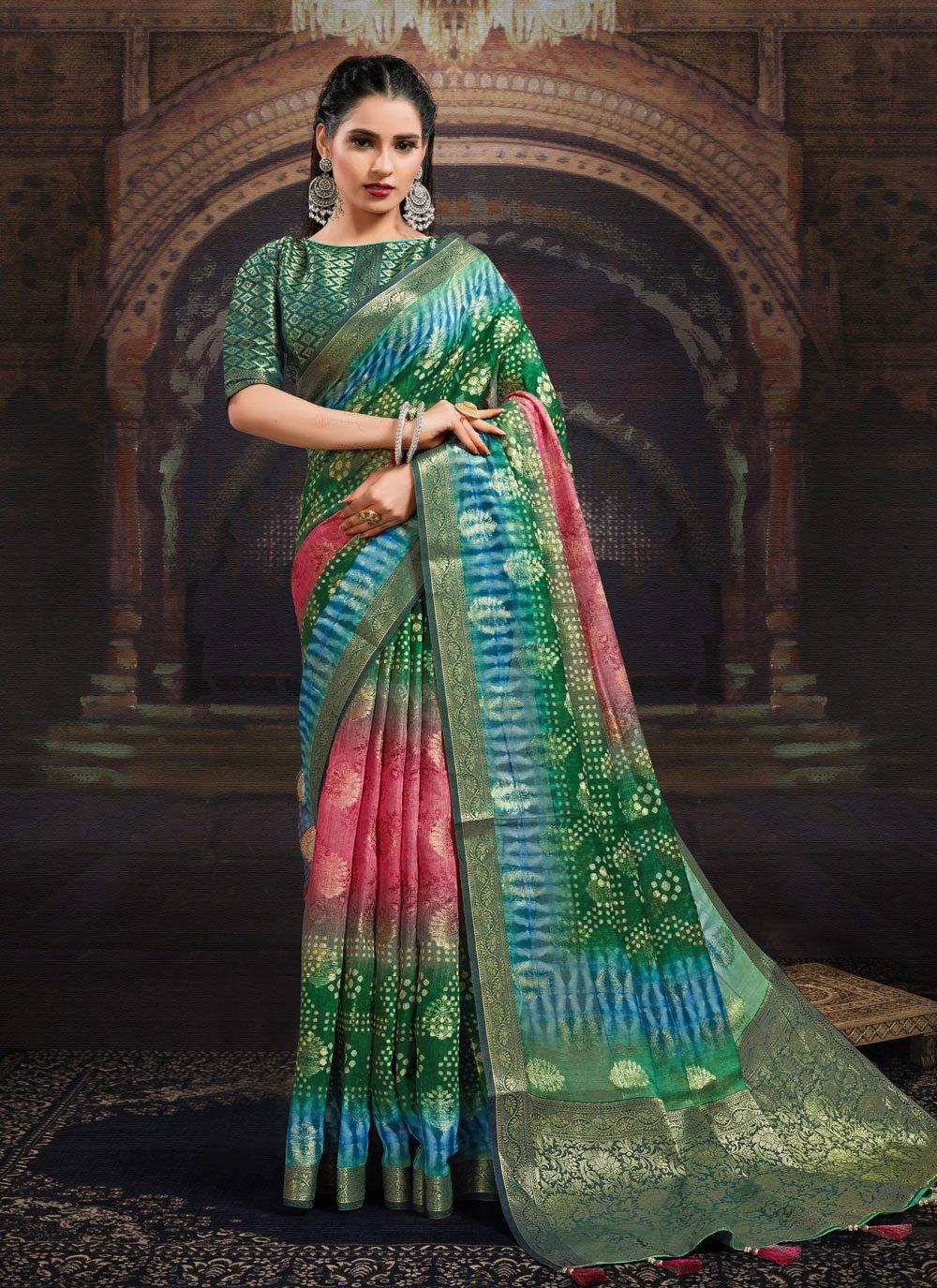 Digital Print Fancy Fabric Multi Colour Designer Saree